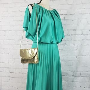 VTG 1980s Sea Green Blouson Style Dress